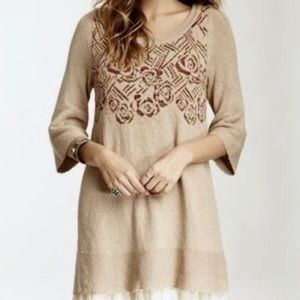 Free People desert rose floral beige knit tunic